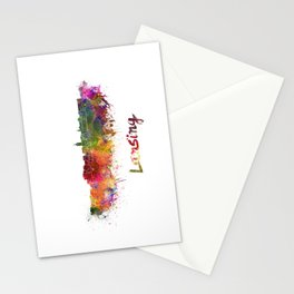 Lansing skyline in watercolor Stationery Cards