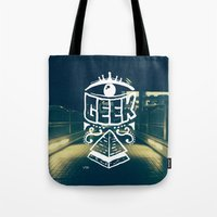 geek Tote Bags featuring GEEK by YTRKMR