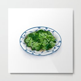Watercolor Illustration of Chinese Cuisine - Fried broccoli with minced garlic | 蒜蓉西兰花 Metal Print