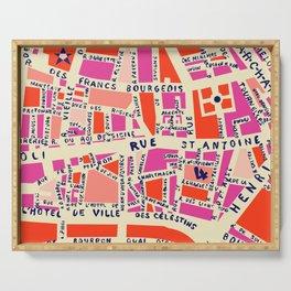 paris map pink Serving Tray