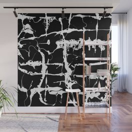 Black and white wet paint textured pattern Wall Mural