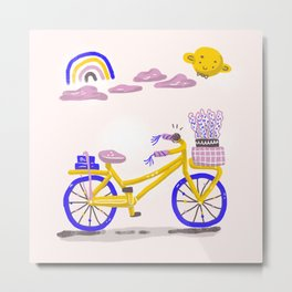 riding a bike in summer Metal Print
