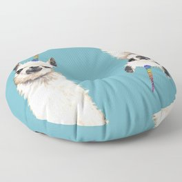 Unicorn Llama Blue Floor Pillow