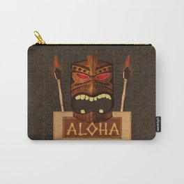 Vintage Wood Tiki Aloha Carry-All Pouch