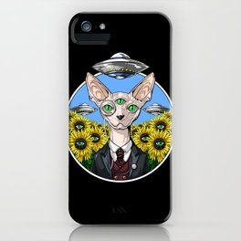 Psychedelic Sphynx Cat Alien Abduction iPhone Case