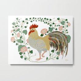 Rooster and morning glory Metal Print