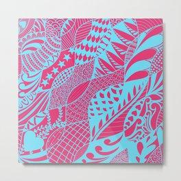 Pink and Teal Doodle Metal Print