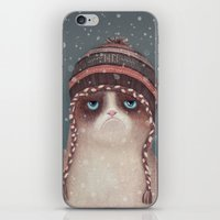 card iPhone & iPod Skins featuring Christmas Cat by Lime
