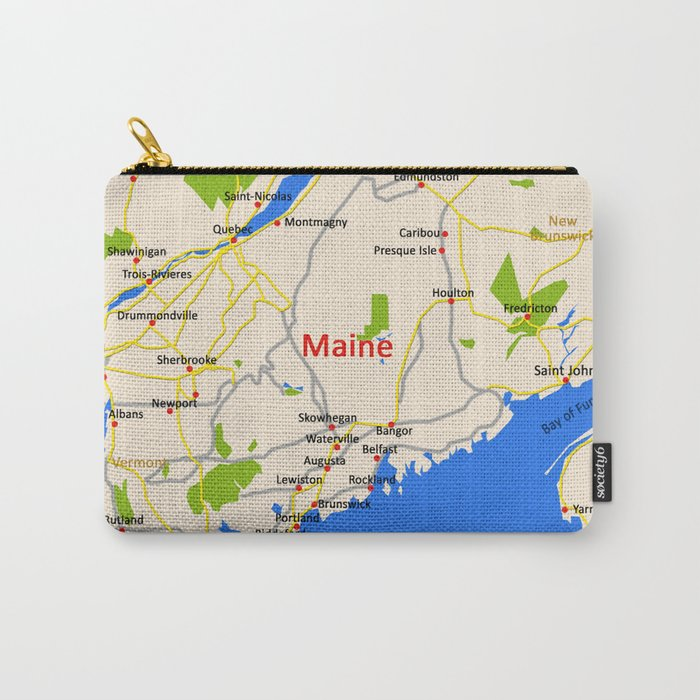 Map Of Maine State Usa Carry All Pouch By Efratul Society6