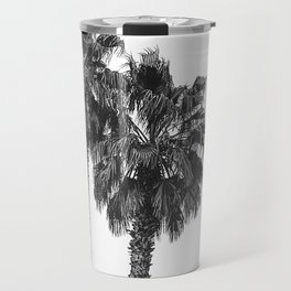 Dos Palmeras // Tropical Black and White Palm Tree Photography California Nature Ocean Vibes Travel Mug