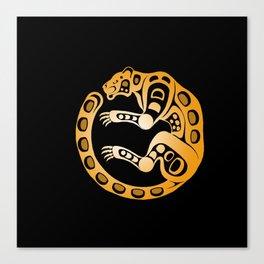 Formline leopard circular design Canvas Print