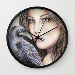 Girl with crow pencil drawing Wall Clock