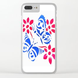 Butterfly and flower screenprint Clear iPhone Case