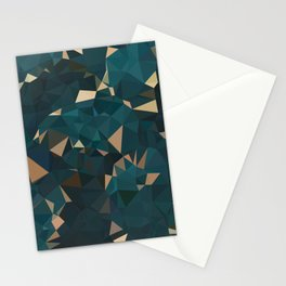 Gold Teal Abstract Low Poly Geometric Triangles Stationery Cards