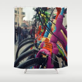 colourful bicycles in Buyukada Istanbul Shower Curtain