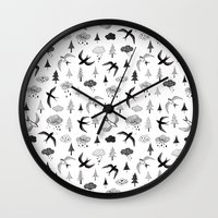 swallow Wall Clocks featuring swallow by Hui_Yuan-Chang