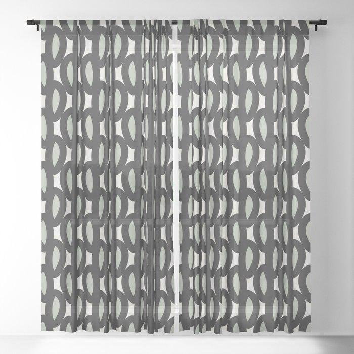 geo six-celadon Sheer Curtain