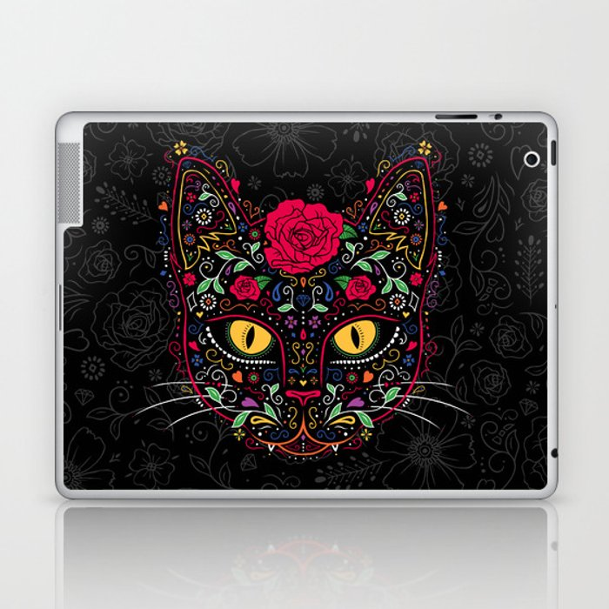 Day of the Dead Kitty Cat Sugar Skull Laptop & iPad Skin