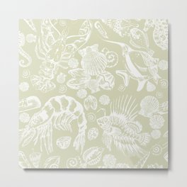 Ocean Critters with Grey Background Metal Print