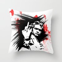 beethoven Throw Pillows featuring Beethoven FU by viva la revolucion