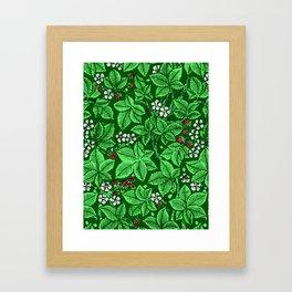 Art Nouveau Strawberries and Leaves, Emerald Green Framed Art Print