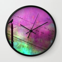 Birds On Powerline - Pink Aqua Blue Surreal Raven Crow On Powerlines Wall Clock