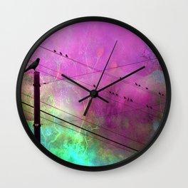 Birds On Powerline - Pink Aqua Blue Surreal Raven Crow On Powerlines Wall Clock