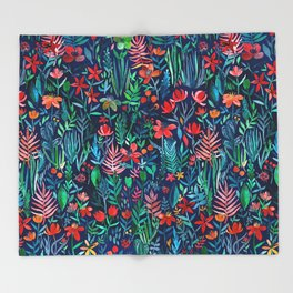 Tropical Ink - a watercolor garden Throw Blanket