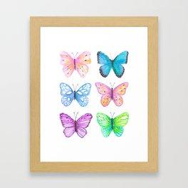 Vibrant butterflies watercolor Framed Art Print