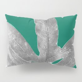 Christmas Fern, Holiday Green with Silver Winter Leaf Pillow Sham
