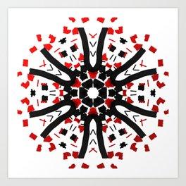 Red Black Tribal Star Art Print