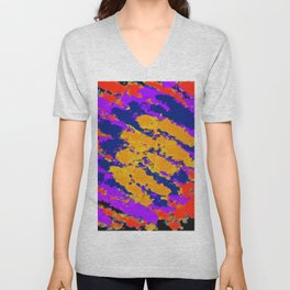 psychedelic splash painting abstract texture in red purple blue yellow Unisex V-Neck