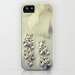 Diamnond / Crystal Earrings and feather flower iPhone Case