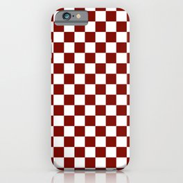 Vintage New England Shaker Barn Red and White Milk Paint Jumbo Square Checker Pattern iPhone Case