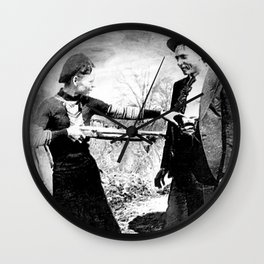 Painting Of Bonnie and Clyde Mock Robert Photo Wall Clock