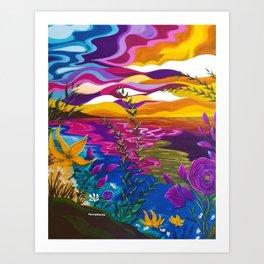Floral Beach, Bright Floral Beach, Abstract Floral Ocean Art Print