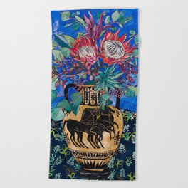 Painterly Bouquet of Proteas in Greek Horse Urn on Blue Beach Towel