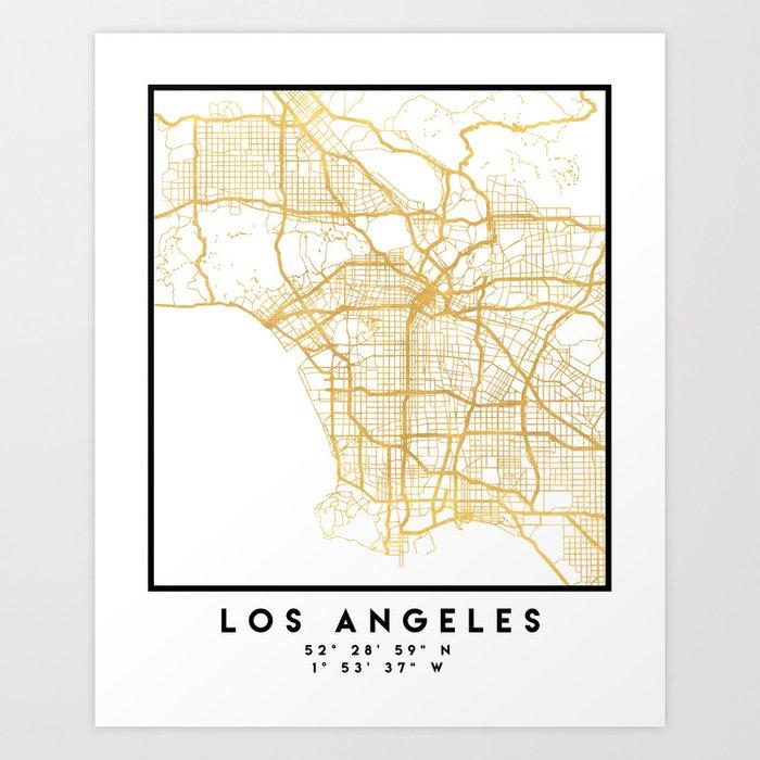 Los Angeles California City Street Map Art Art Print By Deificusart