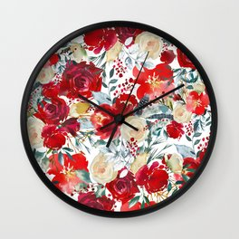 Red teal hand painted boho watercolor roses floral Wall Clock