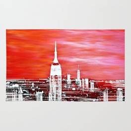Abstract Red In The City Design Rug