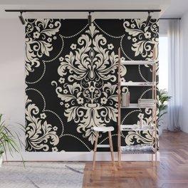Elegant Black and White Floral Vintage Victorian Chandelier Damask Wall Mural