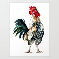 rooster Art Prints featuring Rooster by Bridget Davidson