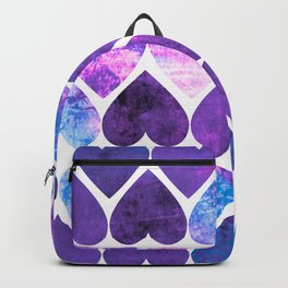 Mod Purple & Blue Grungy Hearts Design Backpack