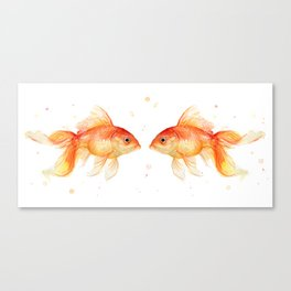 Goldfish Love Watercolor Fish Painting Canvas Print