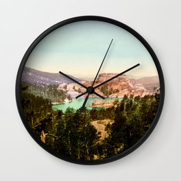 Forest mountains Lake Vintage Scenery Wall Clock