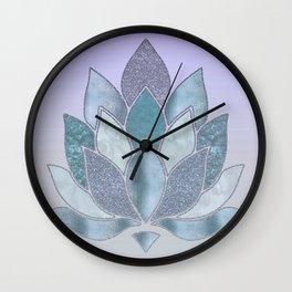 Elegant Glamorous Pastel Lotus Flower Wall Clock