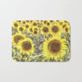 Sunflower Fields Of Summer Watercolour Bath Mat