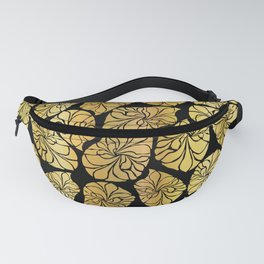 Shiny Gold Leaves Fanny Pack