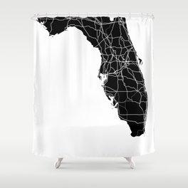 Florida Black Map Shower Curtain