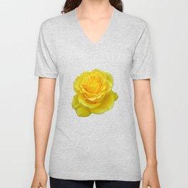 Beautiful Yellow Rose Closeup Isolated on White Unisex V-Neck